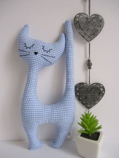 Cat plush toy of decorative fabric customizable blue gingham Crochet Rabbit, Birth Gift, Fabric Animals, Sewing Pillows, Cat Doll, Sewing Toys, Stuffed Toys Patterns, Fabric Dolls, Fabric Decor
