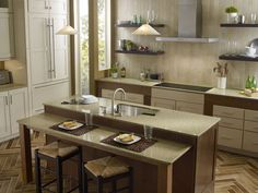 Kitchen with Zodiaq counterops in Mossy Green.