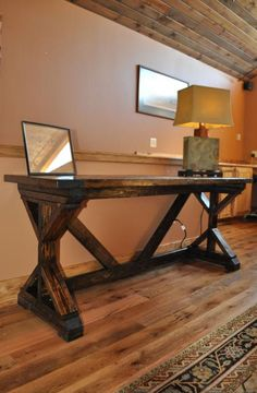 Fancy X Desk with Breadboard top | Do It Yourself Home Projects from Ana White