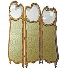 Gold Gilt Upholstered Dressing Screen With Glass from Sweetpea & Willow