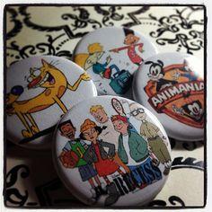 Set of 4 Retro Nineties Cartoon Pinback Buttons by GeekFreakBoutique, $5.00