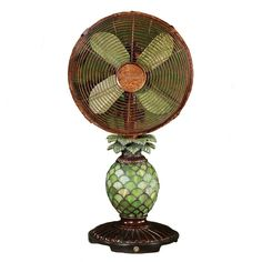 """Mosaic Glass Pineapple illuminates when night light function is turned """"on"""". Tropical design features oscillating fan with whisper-quiet motor. options for maximum cooling comfort. Hawaiian Homes, Electric Fan, Tropical Design, Mosaic Glass, Stained Glass, Metallic Colors, Glass Table, Wall Collage"""