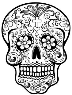 Sugar Skull - Vinyl window decal, chose from any of our stock colors and apply it any solid surface you like. Including; car windows, walls