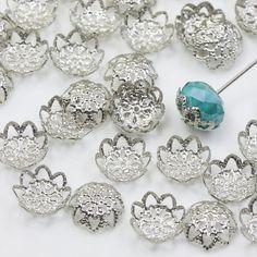 9mm Silver Bead Caps, Platinum Bead Caps, Flower Bead Caps, Filigree Bead Caps…