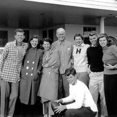 JFK with his mother, father, and five of his siblings