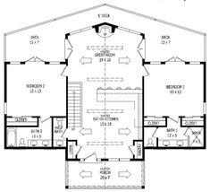 2 Bedroom House Plans, Lake House Plans, Cabin Floor Plans, House Plans One Story, Family House Plans, Country Style House Plans, Best House Plans, Small House Plans, Retirement House Plans