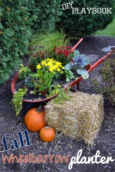fall wheelbarrow planter.... click to see more
