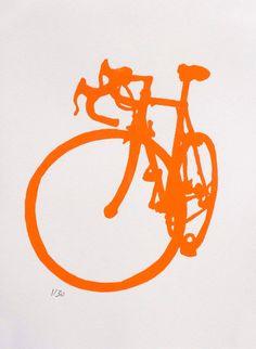 Bicycle Art Orange Road Bike Print by bicyclepaintings on Etsy, $30.00