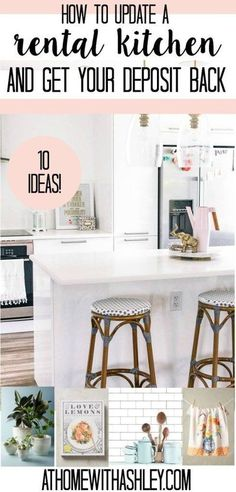 how to update a rental kitchen and get your deposit back. Ideas on how to DIY counter tops, cabinet doors, backsplash, floors, and fridge. Hacks to makeover ugly apartment kitchen decor and upgrade it with contact paper, peel and stick tile, and removable Rental Kitchen, Diy Kitchen, Kitchen Ideas, Kitchen Hacks, Kitchen Upgrades, Kitchen Makeovers, Room Kitchen, Bedroom Makeovers, Kitchen Small