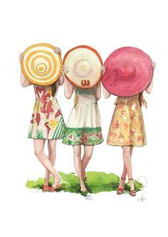 Fashion illustration print, preppy derby hats in 2019 Best Friend Drawings, Bff Drawings, Illustration Mode, Illustration Fashion, Friends Illustration, Fashion Illustrations, Bff Pictures, Best Friends Forever, Cute Art