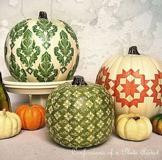 decoupage pumpkins for fall - could use fake pumpkins