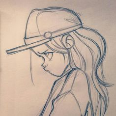 Drawing Reference Photos Anna Cattish Ideas For 2019 Girl Drawing Sketches, Girly Drawings, Art Drawings Sketches Simple, Pencil Art Drawings, Cartoon Drawings, Cool Drawings, Cartoon Art, Girl Sketch, Drawing Ideas