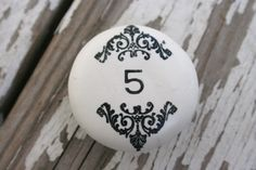 Handstamped Bracketed Number or Word Knob. Cool Numbers, Letters And Numbers, Table Numbers, Knobs And Pulls, Drawer Pulls, What's Your Number, Number 5, Little Cup, Lucky Number