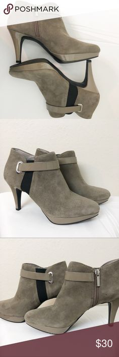 61d8e7b987ab BANDOLINO SUEDE ANKLE BOOTS 7.5 BANDOLINO Suede ankle booties Patent  leather strap Some minor wear