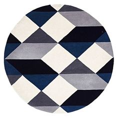 Inject brooding colour into your palette with the contemporary Modern Geo Wool Round Rug, Steel from Rug Culture.