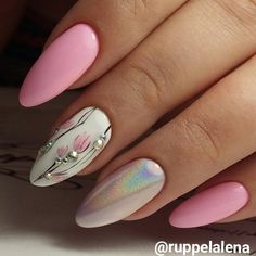 50 Sweet Pink Nail Design Ideas for a Manicure That Suits Exactly What You Need Japanese Art Inspired Flowers And Shimmer Nail Art Designs Rose Nail Design, Pink Nail Designs, Pretty Nail Designs, Pretty Nail Art, Pink Gel, Pink Nail Art, Hair And Nails, My Nails, Prom Nails