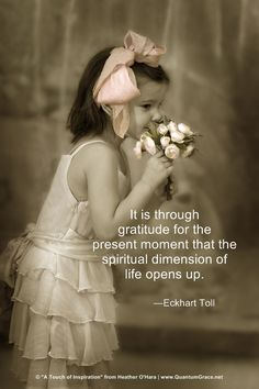 """""""It is through gratitude for the present moment that the spiritual dimension of life opens up."""" —Eckhart Tolle www.pinterest.com/QuantumGrace ..*"""