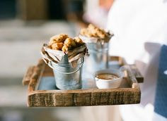 Wedding reception food ideas, hors d'oeuvres, tiny buckets of fried chicken, dipping sauce // Jen Fariello Photography