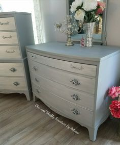 Finally finished these! I changed my mind way to many times on the colors but love the finished look :)  ·chicshabbyfurniture#vintage#repurpose#upcycledfurniture#gray#silver#diy#furniture#upcycle#furnituredesign#elegant#chalkpaint#design#fabric#vintage#paintedfurniture#mirror #staging#glam#knobs#rustoleum#generalfinishes#metallic#dresser