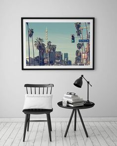 Wall Art For Men los angeles skyline at sunset photography, california photography