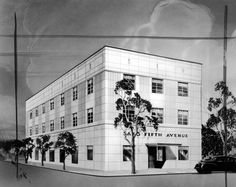 Architect's rendering of the first Saks Fifth Avenue building on Wilshire Boulevard in Beverly Hills.
