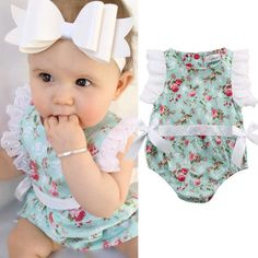 Mother & Kids Cooperative Newborn Toddler Infant Kid Baby Girls Cotton Sleeveless Floral Embroidery Jumpsuit Bodysuits Outfit One Piece Fashion Sunsuit Bodysuits