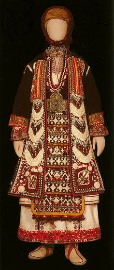 Traditional Greek Thracian folk costume from Makra Gefyra displayed in the Benaki Museum in Athens, Greece.