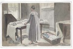 """""""Woman pressing and folding laundry,"""" a drawing from John Lewis Krimmel's sketchbook, c, 1819-1821. View the whole sketchbook at the Winterthur Digital Collections: http://content.winterthur.org:2011/cdm/landingpage/collection/krimmel"""