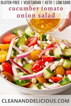 This cucumber tomato onion salad is full of fresh sliced cucumbers, cherry tomatoes and red onion, all tossed in a red wine vinaigrette and sprinkled with feta cheese. The perfect light and refreshing side dish for any summer meal! Healthy Gluten Free Recipes, Healthy Salad Recipes, Vegetarian Recipes, Tomato And Onion Salad, Clean Eating, Healthy Eating, Easy Salads, Cherry Tomatoes, Summer Recipes