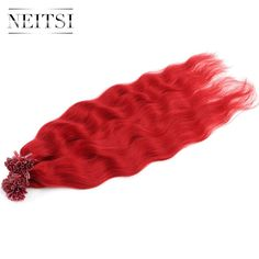 Neitsi Pre Bonded U Nail Tip Keratin Human Hair Wavy Extensions 100% Virgin Remy Fusion Hair red# Color 1g/s 50g 100g per pack