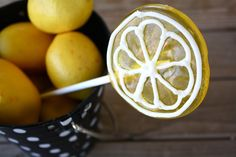 DIY Lemon Lollipops, SO EASY and SO CUTE! Less than 5 ingredients, and NO sucker molds required...Only a muffin tin!