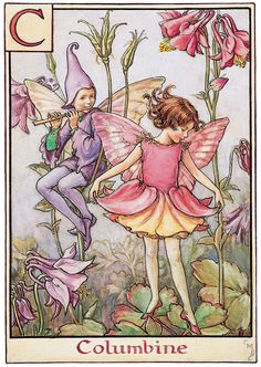"""The Columbine Fairy. From """"A Flower Fairy Alphabet"""" by Cicely M. Barker (1934)"""