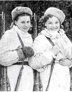 World War II, the Great Patriotic War. Russian snipers – Sergeants Olga Mokshina (left) and Eva Novikova. Winter 1943, Belorussian Front, Russia. Photo by G. Belyanin.