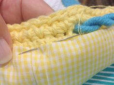 Sewing lining into a crochet bag