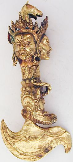 Kartika - A kartika is a small, symbolic crescent knife or 'chopper', used in Vajrayana Buddhist ceremonies. It symbolizes the severance of all material and worldly bonds and is crowned with a vajra, which is said to destroy ignorance, and leads to enlightenment.