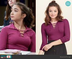 Riley's purple lace up top on Girl Meets World.  Outfit Details: https://wornontv.net/60838/ #GirlMeetsWorld