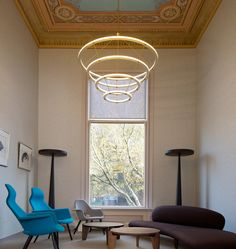 Interior by BigBrands. Image by Ewout Huibers. Designed by Paul Loebach for Roll & Hill Living Room Modern, Living Spaces, Home Interior, Interior Design, Dining Room Lighting, Hallway Lighting, Lighting Manufacturers, Table Seating, Ceiling Design