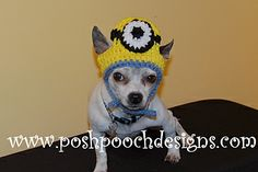 Yellow Goggle Eyed Dog Hat - Large Dog - Custom made for large dogs- dog beanie Crochet Dog Clothes, Crochet Dog Sweater, Pet Clothes, Animal Clothes, Dog Clothing, Chat Crochet, Minion Crochet, Crochet Baby, Minion Dog Costume