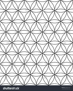 Vector modern sacred geometry seamless pattern flower of life black and white textile design abstract texture monochrome graphic print