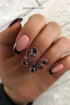 Square Nail Designs, Black Nail Designs, Acrylic Nail Designs, Nail Art Designs, Square Acrylic Nails, Summer Acrylic Nails, Cute Acrylic Nails, Summer Nails, Nail Swag