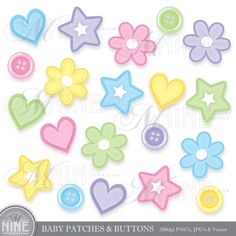 BABY Clip Art PATCHES & BUTTONS Clipart Vector Art File, Instant Download, 20 Coloful Star Heart Flower Patches and Buttons Graphics