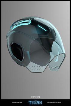 TRON Legacy helmet concept Designer: Neville Page Cyberpunk, Futuristic Helmet, Futuristic Motorcycle, Futuristic Technology, Wearable Technology, Wearable Device, Tron Legacy, Helmet Design, Futuristic Architecture