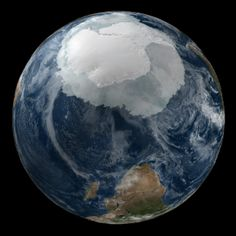 View of the Earth on September 21, 2005 with the full Antarctic region visible. NASA