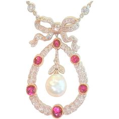 Pre-owned Edwardian diamond, ruby and natural pearl pendant. ($15,500) ❤ liked on Polyvore featuring jewelry, necklaces, drop necklaces, ruby pendant necklace, drop pendant necklace, pearl drop necklace, diamond chain necklace and pearl chain necklace