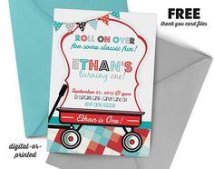 Wagon Birthday Invitation, radio flyer party invitation, wagon birthday, party invitation printable