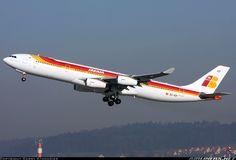 Airbus A340-313, Iberia, EC-ICF, cn 459, first flight 30.1.2002, Iberia delivered 28.2.2002. Foto: Zurich, Switzerland, 18.1.2012.
