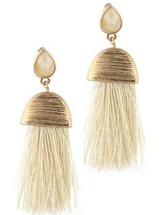 Scarlett Tassel Earrings - Cream