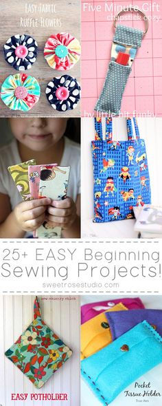 25 Easy Beginning Sewing Projects at Sweet Rose Studio