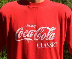 vintage 80s t-shirt enjoy COKE classic coca-cola tee shirt XL Large soda pop red by skippyhaha, $15.00