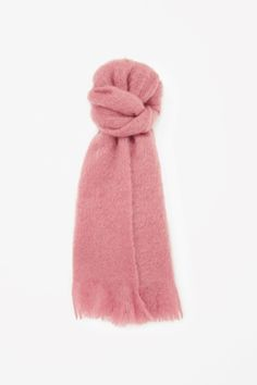 COS image 1 of Fringed mohair scarf in Cranberry